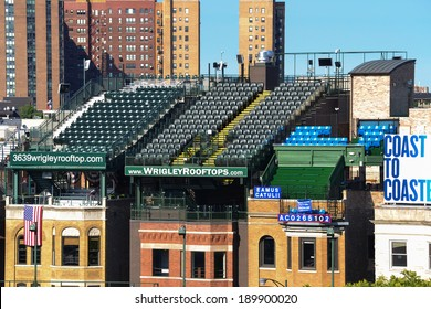 Chicago, Illinois, USA - June 29, 2011 - Wrigley Field Stadium, Rooftop seats located across N. Sheffield Avenue from the right outfield allow patrons to view the game from these privately owned seats