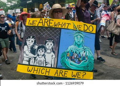 CHICAGO, ILLINOIS USA - JUNE 30, 2018: Demonstrators at the Families Belong Together rally protest the plight of migrant children separated from their families at the border.
