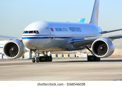 CHICAGO, ILLINOIS / USA - March 10, 2018: An Air China Cargo transport aircraft taxiing to the cargo terminal at the O'Hare International Airport in Chicago.