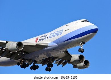 CHICAGO, ILLINOIS / USA - March 10, 2018: A China Airlines Cargo transport aircraft arriving at the O'Hare International Airport in Chicago on a sunny morning.