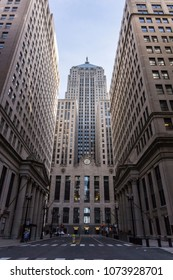 Chicago, Illinois, USA, March 18 2018: Chicago Board of Trade building between skyscrapers