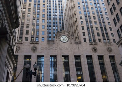 Chicago, Illinois, USA, March 18 2018: Exterior of Chicago Board of Trade building