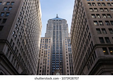 Chicago, Illinois, USA, March 18 2018: Looking at Chicago Board of Trade building between skyscrapers