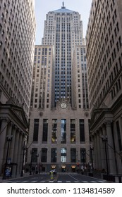 Chicago, Illinois, USA, March 18 2018: Chicago Board of Trade building between office buildings