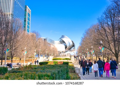 CHICAGO, ILLINOIS, USA - MARCH 2018:  Jay Pritzker Music Pavilion, a bandshell in Millenium park. The building was designed by architect Frank Gehry