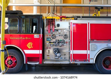 CHICAGO, ILLINOIS, USA - MARCH 2018: The real squad fire truck near Chicago Fire Department at the quarters of Engine Co. 5, which was filmed in the legendary series 'Chicago Fire'