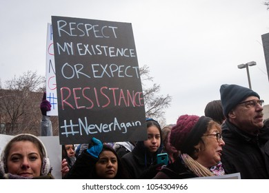 CHICAGO, ILLINOIS / USA - MARCH 24, 2018: The March For Our Lives Rally and March organized by Chicago young people.