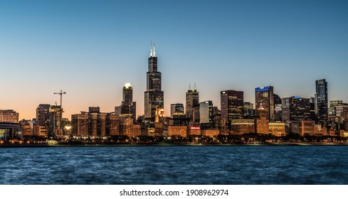Chicago, Illinois - USA - March 3, 2018: Major City Skyline With John Hancock Building And Willis Tower In Downtown Chicago.