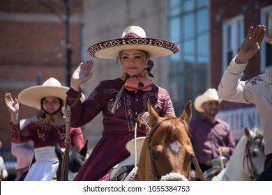 Chicago, Illinois, USA - May 07, 2017, The Cinco De Mayo Parade is held to remember the victory the Mexican forces had over the invading French army in the Battle of Puebla on 5 May, 1862.