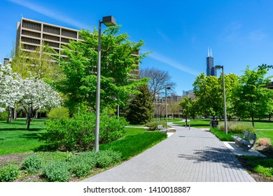 Chicago, Illinois / USA - May 10 2019: Pathway on the Campus of the University of Illinois at Chicago looking towards Downtown