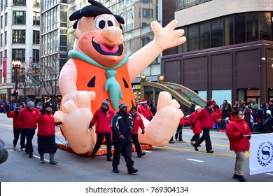Chicago, Illinois, USA: November 23,2017: 2017 Fred Flintstone in Thanksgiving Parade