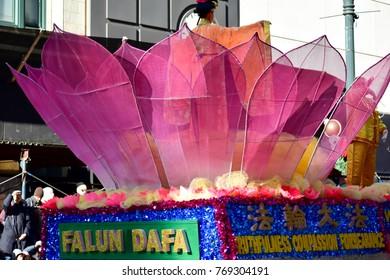 Chicago, Illinois, USA: November 23,2017: USA Falun Dafa Association in Thanksgiving Parade