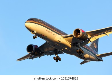 CHICAGO, ILLINOIS / USA - November 25, 2017: New generation Royal Jordanian Boeing 787-8 airliner on final approach to O'Hare International Airport completing its long distance flight during sunset.
