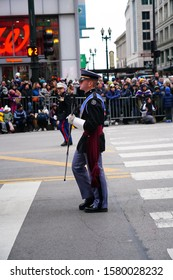 Chicago, Illinois / USA - November 28th 2019: Riverside Military Academy Marching band of Gainesville, Georgia marched in 2019 Uncle Dan's Chicago Thanksgiving Parade.