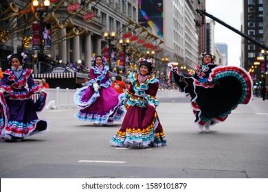 Chicago, Illinois / USA - November 28th 2019: House of Guatemalan Culture Casa de la Cultura Guatemalteca en Chicago participated and danced 2019 Uncle Dan's Chicago Thanksgiving Parade.