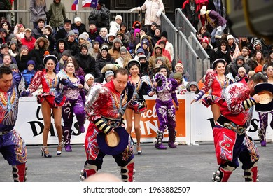 Chicago, Illinois USA - November 28th, 2019: Latino Mexican hat dance Jarabe Tapatío dancers performed in the streets of Chicago during the thanksgiving parade for a crowd of people.
