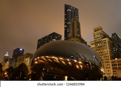 Chicago, Illinois - USA - November 29, 2014: Chicago Skyline View and Cloud Gate in Millenium Park
