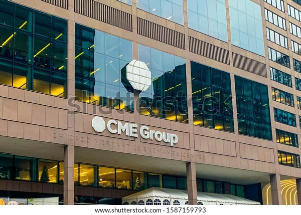 CHICAGO, ILLINOIS, USA- NOVEMBER 29, 2019: CME Group building exterior. Chicago merchant group center