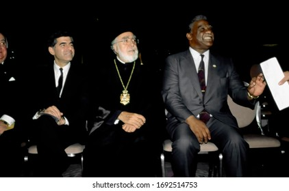 Chicago, Illinois, USA, November 8, 1987 Michael Dukakis with Archbishop Iakovos of the Greek Orthodox Archdiocese and Chicago Mayor Harold Washington at the Annual United Hellenic American Congress