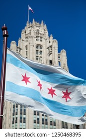 Chicago, Illinois / USA - October 28 2017: Iconic City of Chicago flag with the famous Tribune Tower in the background, with space for text on top