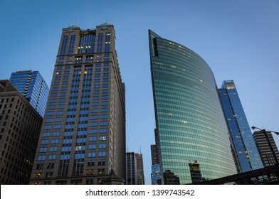 CHICAGO, ILLINOIS, USA - September 15, 2011: Straight and curved building, part of the fabulous arquitecture in Chicago.