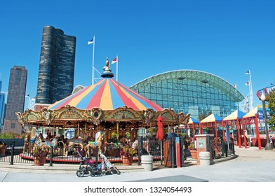 Chicago, Illinois, Usa, September 22, 2014: the merry-go-round at Navy Pier, built as a landmark for the 1893 World's Fair, one of the most visited tourist attraction in the entire Midwestern Usa
