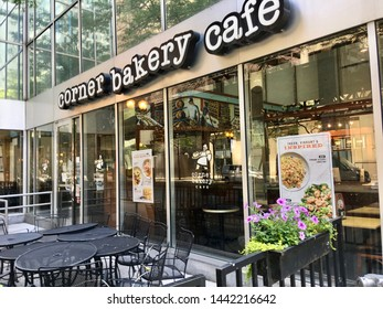 CHICAGO, ILLINOIS/JULY 4, 2019: Corner Bakery Cafe welcomes customers at Loop business district