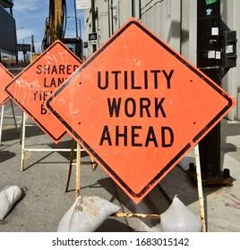 CHICAGO, ILLINOIS/MARCH 25, 2020: warning utility work ahead at North Halsted St bridge