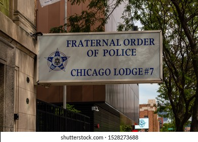 Chicago, Illinois-September 19, 2019: Fraternal Order of Police, Chicago Lodge 7. A sign above the Chicago Police union office in the West Loop.