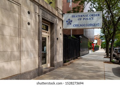 Chicago, Illinois-September 19, 2019: Fraternal Order of Police, Chicago Lodge 7. The front entrance to the Chicago Police union office in the West Loop.