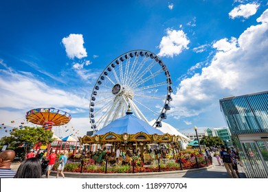 CHICAGO, ILLINOIS/UNITED STATES OF AMERICA - SEPTEMBER 01, 2018: View of amusement park at Navy Pier, Michigan lake, in a sunny day.