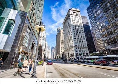 CHICAGO, ILLINOIS/UNITED STATES OF AMERICA - SEPTEMBER 01, 2018: Street view of Chicago in a sunny day.