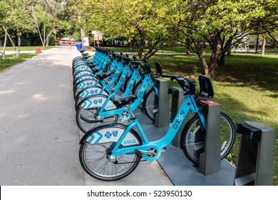 Chicago, Illinois,USA - 16th September 2016:Divvy bike sharing city bikes for rental in Chicago.  Bike sharing or rental is a popular city transport