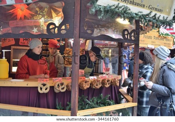 Chicago German Christmas Market.Chicago Illinoisusa 20 2015 German Pretzel Stock Photo Edit
