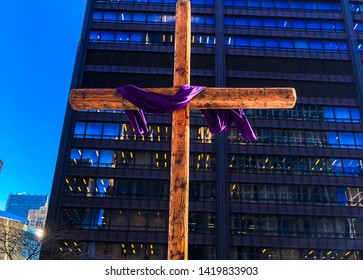 Chicago/ Illinois/Usa - April 19, 2019: Holy Week catholic symbol at Daley Plaza. The plaza hosts many festivals, performances and other many civic functions.