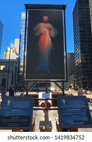 Chicago/ Illinois/Usa - April 19, 2019: The Divine Mercy at Daley Plaza for Holy Week 2019. The plaza hosts many festivals, performances and other many civic functions in Chicago.