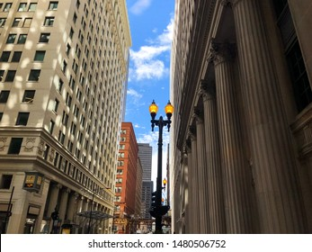Chicago/ Illinois/USA - April 19, 2019: W Jackson Boulevard Street and its adjacent buildings in the Loop