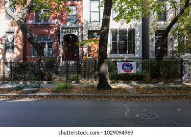 Chicago, Illinois/USA-10/23/2016: Chicago Cubs flag in a street in Chicago, Illinois.