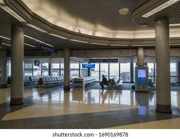 Chicago, Illinois/USA-March 30 2020: O'Hare Airport in Chicago, one of the busiest Airport in the United States is completely empty due to the Coronavirus COVID-19 pandemic.