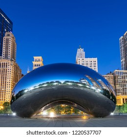 CHICAGO, ILLINOIS/USA-OCTOBER 13 2018: image of the Cloud Gate or The Bean in the morning October 13 2018 in Millennium Park, Chicago, Illinois