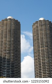 Chicago, Illnois, United States - October 9, 2018: Marnia City, a mixed-use residential-commercial building complex designed by Bertrand Goldberg
