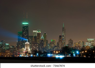 Chicago illuminated in St. Patrick's day color.