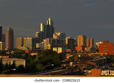 Chicago, Ill./USA-Aug. 25, 2016: Towers on the city's near south side gleam in the light of the setting sun.