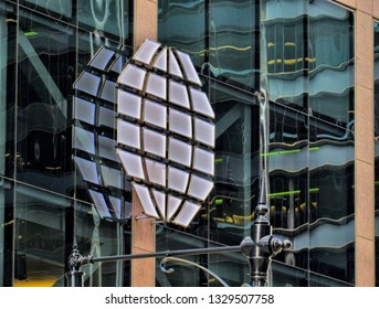 Chicago, Ill./USA-Nov. 7, 2015: The CME logo dominates a glass facade of the commodity exchange company's headquarters on Wacker Drive.