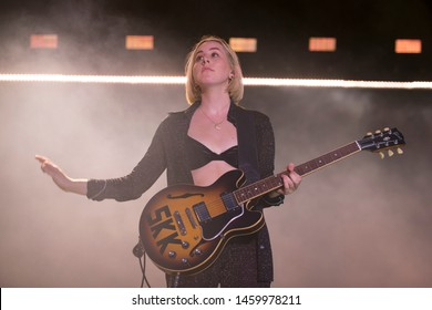 Chicago, IL/USA: 7/19/19: Alana Haim performs with the band Haim at the Pitchfork Music Festival. They're an American pop rock band from Los Angeles consisting of three sisters.
