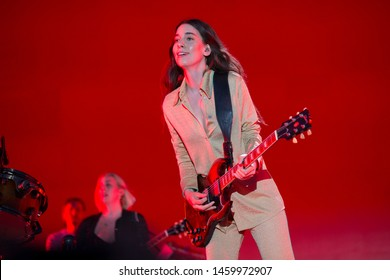 Chicago, IL/USA: 7/19/19: Danielle Haim leads the band Haim at the Pitchfork Music Festival. They're an American pop rock band from Los Angeles consisting of three sisters.