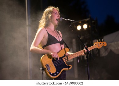 Chicago, IL/USA: 7/19/19: Este Haim performs with the band Haim at the Pitchfork Music Festival. They're an American pop rock band from Los Angeles consisting of three sisters.