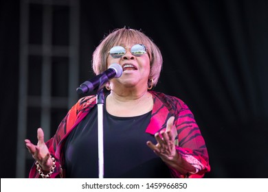 Chicago, IL/USA: 7/19/19: Mavis Staples performs at the Pitchfork Music Festival. She's an American rhythm and blues and gospel singer, actress, and civil rights activist.