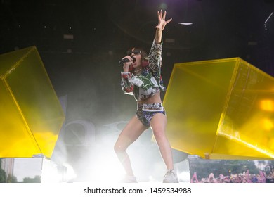 Chicago, IL/USA: 7/21/19: Charli XCX aka Charlotte Emma Aitchison performs at Pitchfork Music Festival. She's an English singer, songwriter who has won Billboard Music Awards.