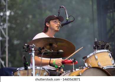 Chicago, IL/USA: 7/21/19: Julien Ehrlich on drums and lead vocals for Chicago based band Whitney at the Pitchfork Music Festival.